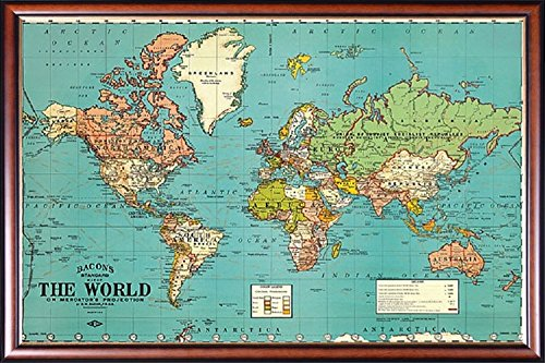 (FRAMED Vintage Map Of The World Parchment 18x27.5 Poster Dry Mounted in Executive Series Walnut Wood Frame With Gold Lip - Crafted in USA)