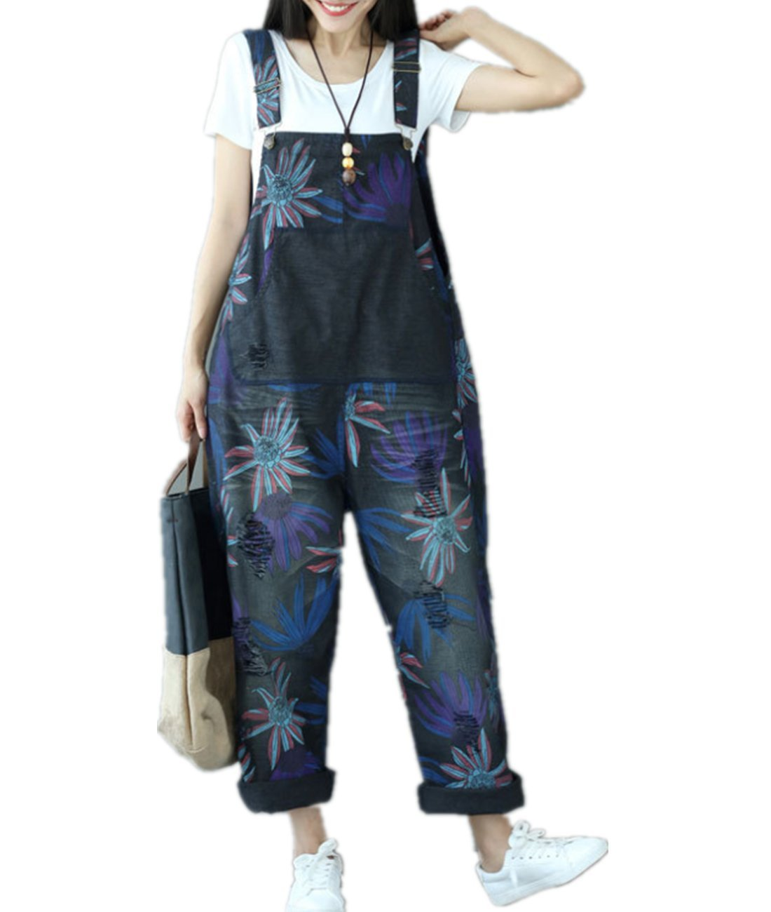 YESNO PM2 Women Casual Loose Overalls Floral Rompers Ripped Distressed Boyfriend Style