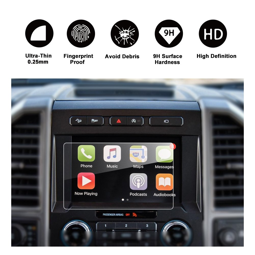RUIYA 2015-2018 Ford F-150 COUPE/HATCHBACK, SYNC2 SYNC3 8-inch In-Dash Screen Protector, Car Navigation Screen Protective Film,HD Clear Tempered Glass,Compatible with 250V 350 450