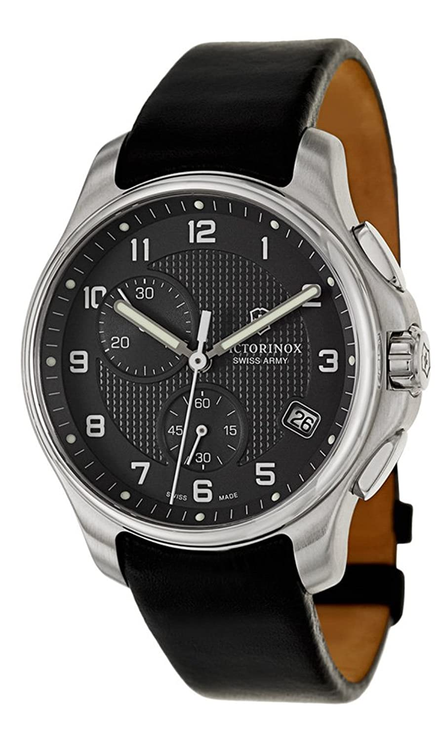Swiss Army Classic Officer's Chronograph GMT Stainless Steel Mens Strap Watch Black Dial 241552