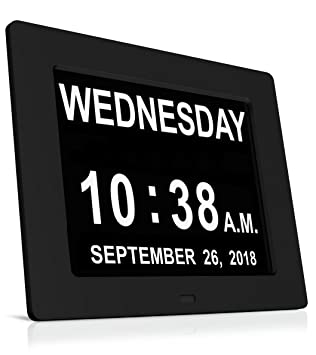 heqiao 8 inch led large digital wall clocks silent desk calendar day clock for seniors dementia