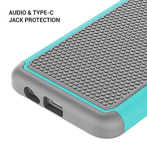 Galaxy A8 (2018) Case,SUNGUY Dual Layer Durable Armour Defender Shock protector de golpes con funda híbrida de silicona suave y PC dura para Samsung Galaxy A8 (2018) - Emerald Smeraldo