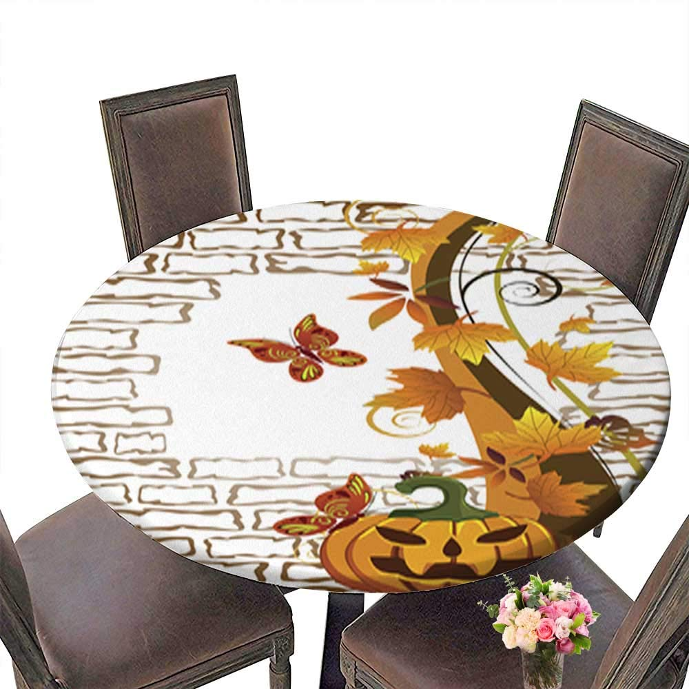 Indoor/Outdoor Polyester Round Tablecloth,Happy Halloween Wedding Restaurant Party Decoration up to 31.5''-33.5'' Diameter