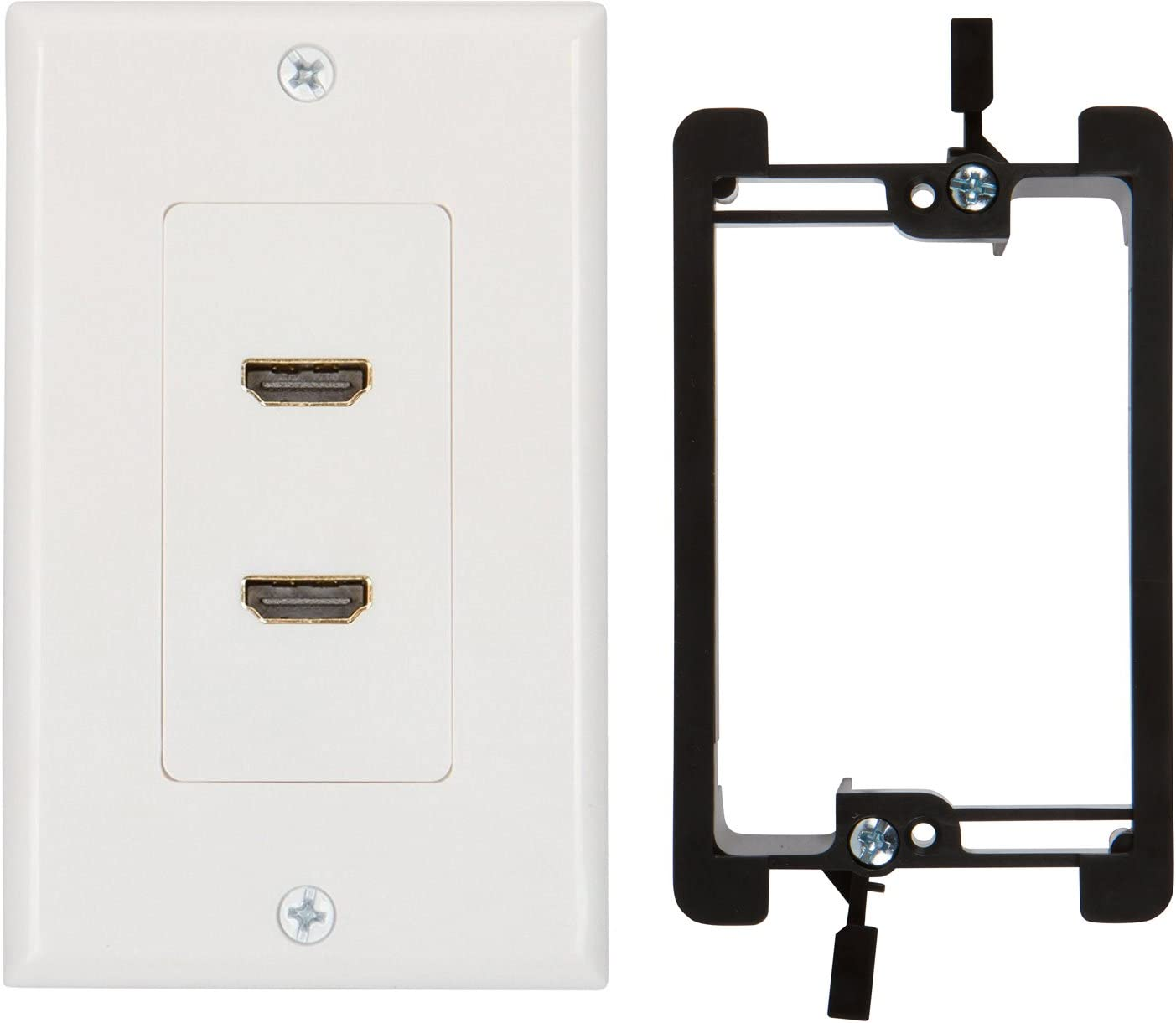 Buyer's Point HDMI Wall Plate [UL Listed] (2 Port) Insert 6-Inch Built-in Flexible Hi-Speed HDMI Cable with Ethernet- Decora Style 2-Piece Pigtail Jack/Plug for Dual Outlet Port (White Kit 2 Port)