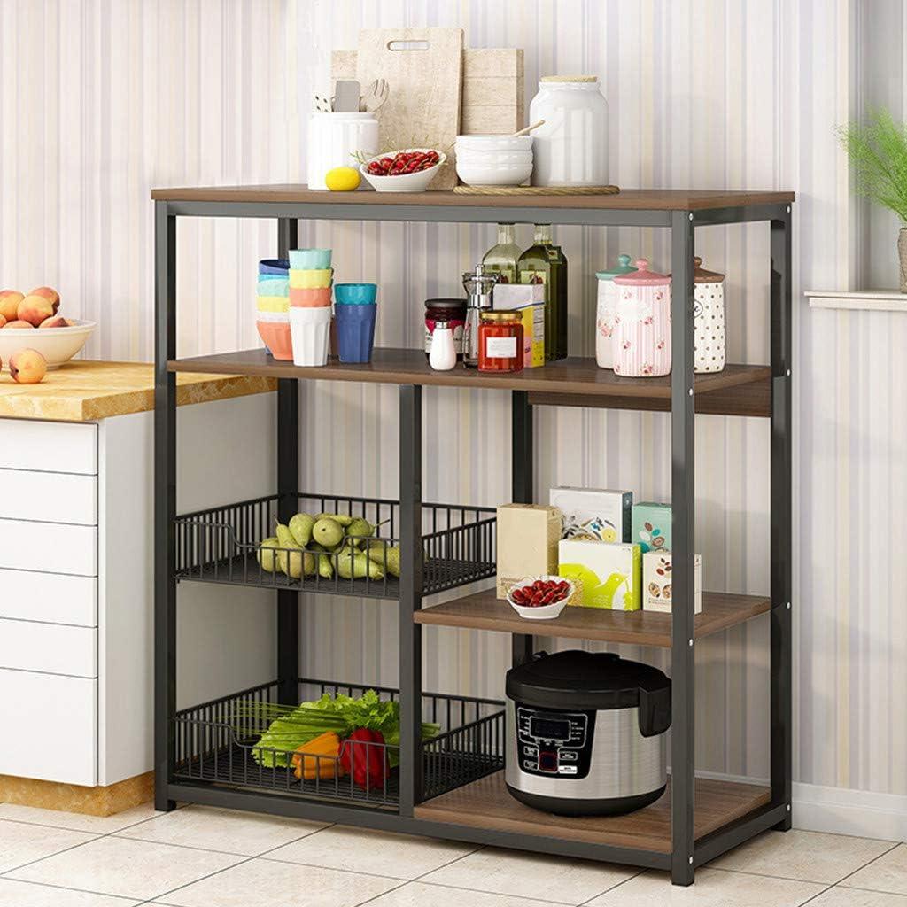 POROPL 31.5in Kitchen Appliance Standing Racks Beige Multifunctional Household Utility Storage Shelf Microwave 4 Floors Table for Spice Rack Organizer Workstation