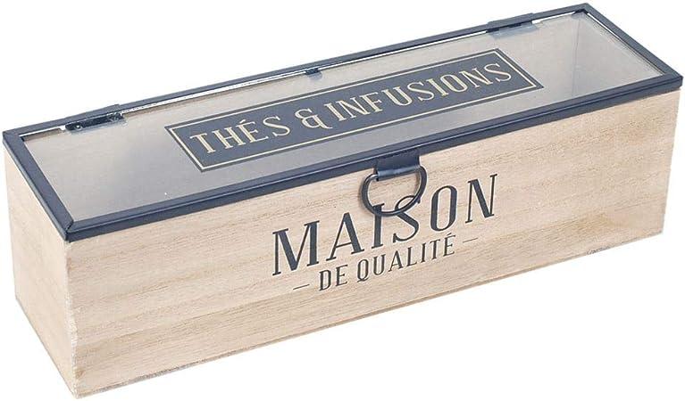 Caja Retro Decorativa de Madera para Te e Infusiones Maison. Cajas Multiusos. Menaje de Cocina. Regalos Originales. Decoración Hogar. 29 x 8 x 8,50 cm.: Amazon.es: Hogar