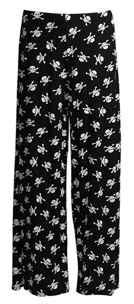 Cima Mode's Women's Plus Size Floral Cross Skull Wide Leg Palazzo Pants 10/24