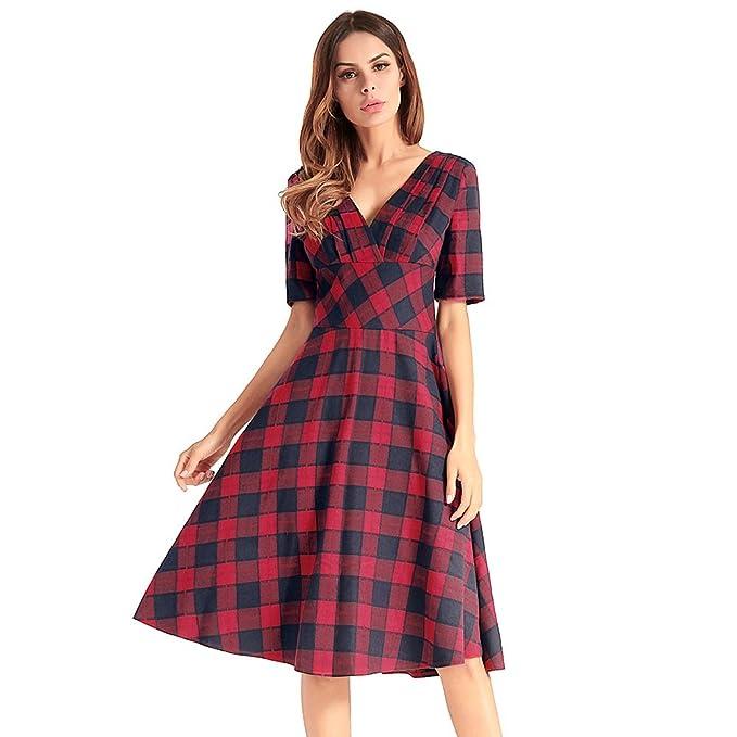 antaina Vestido de Mujer Plisado de la Vendimia de la Tela Escocesa de la Vendimia Rojo