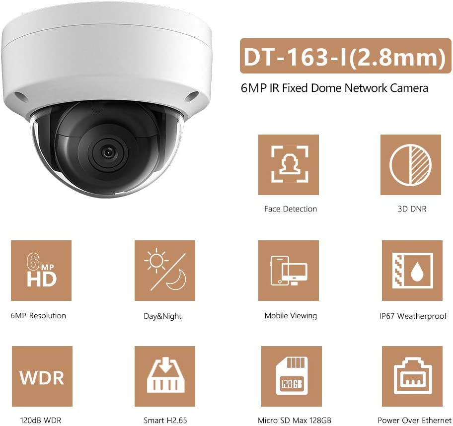 6MP PoE IP OEM Camera Dome Compatible with Hikvision,Indoor Outdoor Network Home Surveillance Security Camera with 98ft Night Vision,Micro SD Card Slot,H.265 ,IP67 Waterproof, IK10 Vandal Resistan