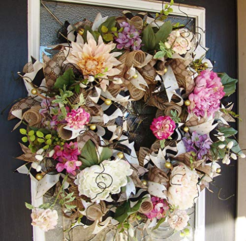 XL Deluxe Romantic Rustic Floral Front Door Deco Mesh Wreath, French Country, Classic Everyday, Spring, Summer, Mothers Day, Valentine's Day -