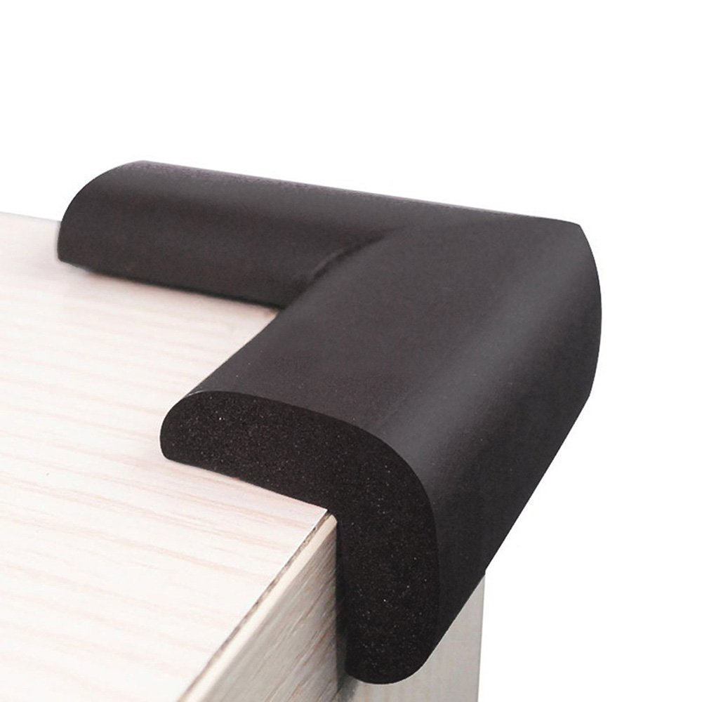 Kxtffeect 10Pcs Extra Thick Premium High Density Furniture Table Edge & Corner Guard Baby Proofing Bumper Protector - Jumbo Size Value Pack (Black)
