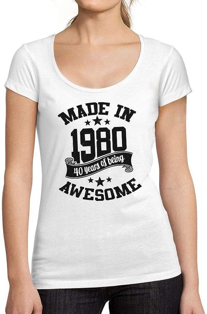 Ultrabasic®- Camiseta de Mujer con Cuello Redondo Escotado Made in 1980 Regalo Idea para 40 Cumpleaños: Amazon.es: Ropa y accesorios