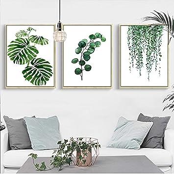 Set de 3 Affiches Vert Tropical Plante Feuilles Toile Art Poster Décoration  Murale Nature Tableau Moderne Design Impressions sur Toile Affiche Deco ...