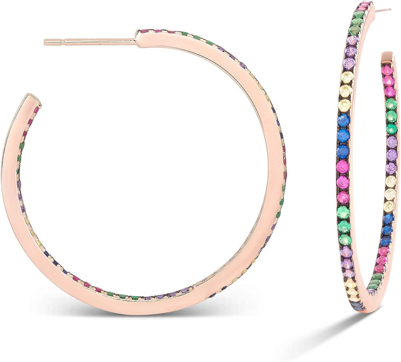 Pendientes Luxenter Roa (33mm) en plata, baño de oro rosa y circonita multicolor