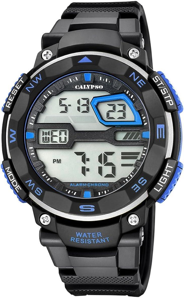 Calypso Hombre Reloj Digital con Pantalla LCD Pantalla Digital Dial y Correa de plástico en Color Negro k5672/5