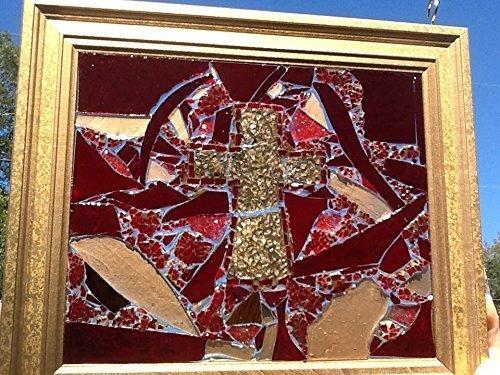 Cross Stained Glass window Art Sun Catcher, Christian Art by Mountain Mosaics