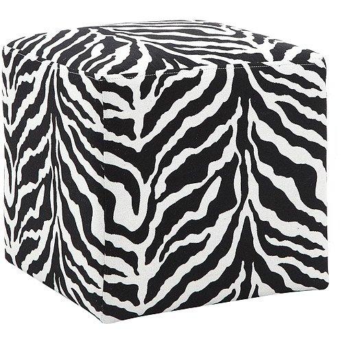 DHI Adiga Woven Upholstered Cube Ottoman, Zebra Print (Zebra Ottoman)