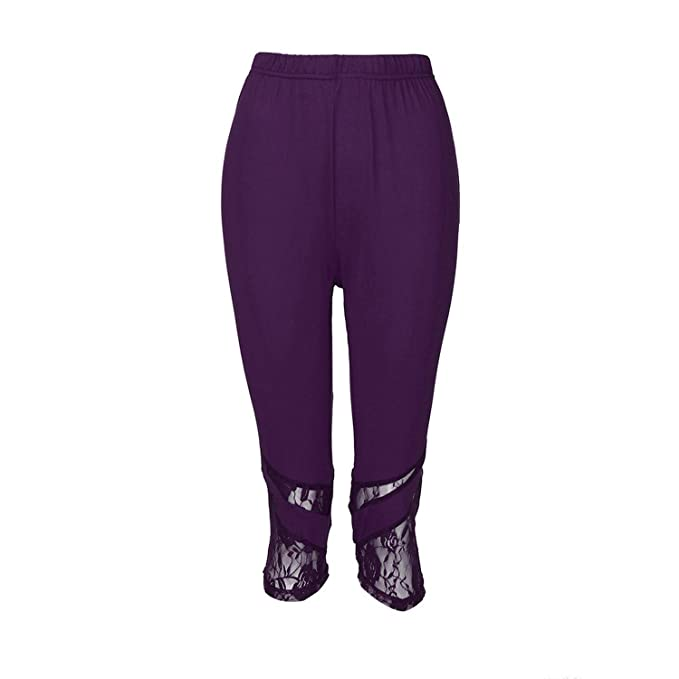 Women Lace Plus Size Skinny Pants Yoga Sport Pants Leggings ...