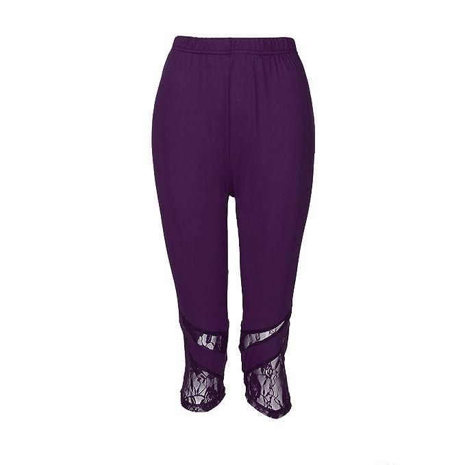 Women Lace Plus Size Skinny Pants Yoga Sport Pants Leggings ...