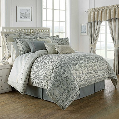 Waterford Linens Allure Reversible Queen Comforter Set in Slate (Allure Queen Comforter)