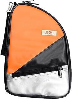 R Forme Cuir synthétique Housse pour raquette de tennis de table Ping Pong Sac de batte (Orange) Blancho Bedding