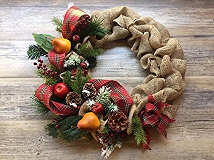 18 christmas door wreath christmas decorations with fruits door wreath burlap bow pine needle stems - Burlap Christmas Door Decorations