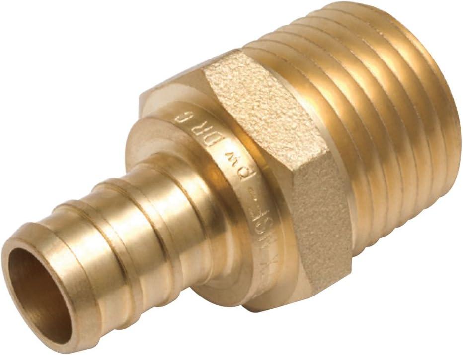 "1/"" Sharkbite Style Push-Fit x 3//4/"" MNPT LF Brass Male Threaded Adapters 10"