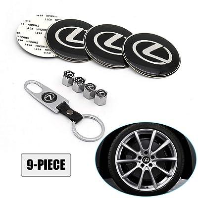 Lisha 9-Piece Set 65mm Car Wheel Center Cap Cover Logo Emblem Sticker for Lexus Matching with Tire Valve Stem Caps and Keychain for Lexus: Automotive