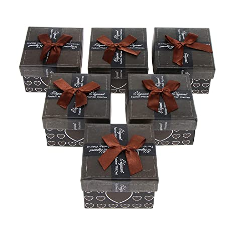 7b45f990adc Buy 6pcs 9x8.5x5.5cm Jewelry Paper Bow-knot Gift Box For Party Wedding  Christmas - Coffee