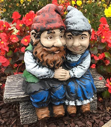 Whimsical Gnomeo and Juliet Gnome Statue Handmade