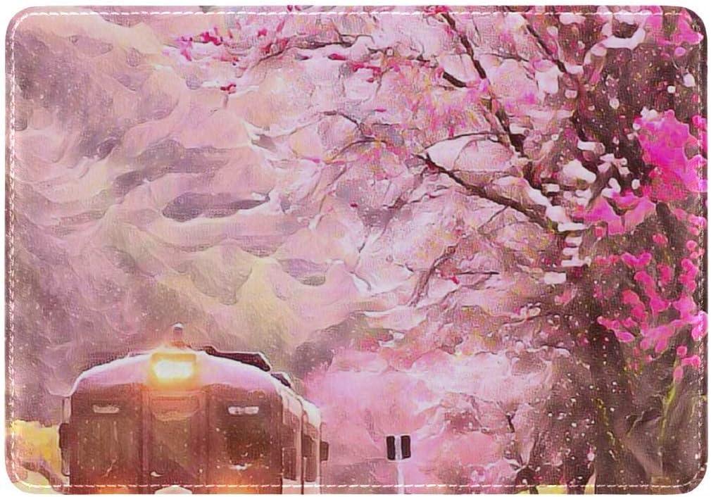 Housse de Passeport personnalis/ée en Cuir PU Motif Cerisier Japonais Rose
