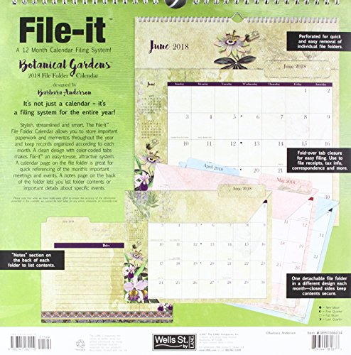 The LANG Companies WSBL Botanical Gardens 2018 File-It Office Wall Calendar (18997006034) Photo #2