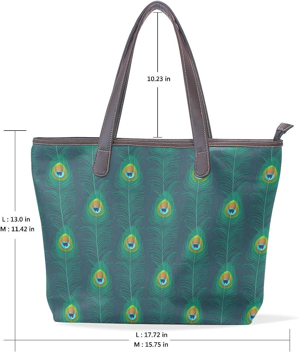 Arranged With Green Feathers Womens Leather Handbag Shoulder Bag Satchel Handbags Leather Tote Purse Women Handle Handbags