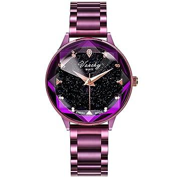 ALXDR Relojes de Cuarzo Reloj para Mujer Reloj de Cuarzo Vanchy Bunze® con Esfera de Cristal para Mujer Pulsera de Acero Starry Sky Series Pulsera,Purple: ...