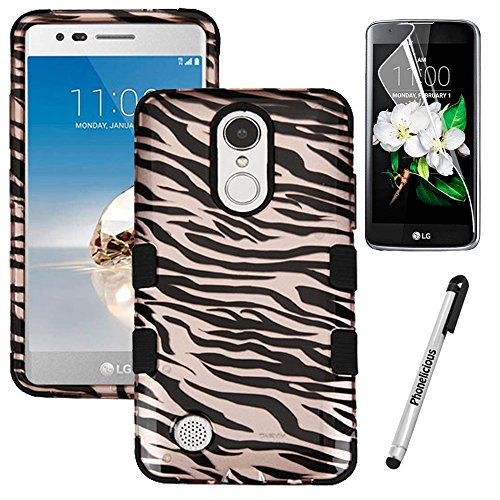 LG FORTUNE Case; LG PHOENIX 3 Case; LG K8(2017) Case,Phonelicious[Heavy Duty][Shock Absorption][Drop Protection][Hybrid] Rugged Impact Phone Tuff Cover + Screen Protector & Stylus (GOLD (Zebra Design Protector Case)