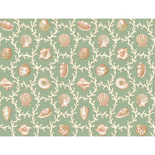 Waverly 5511995 Shell Walks Wallpaper, Teal, 20.5-Inch Wide