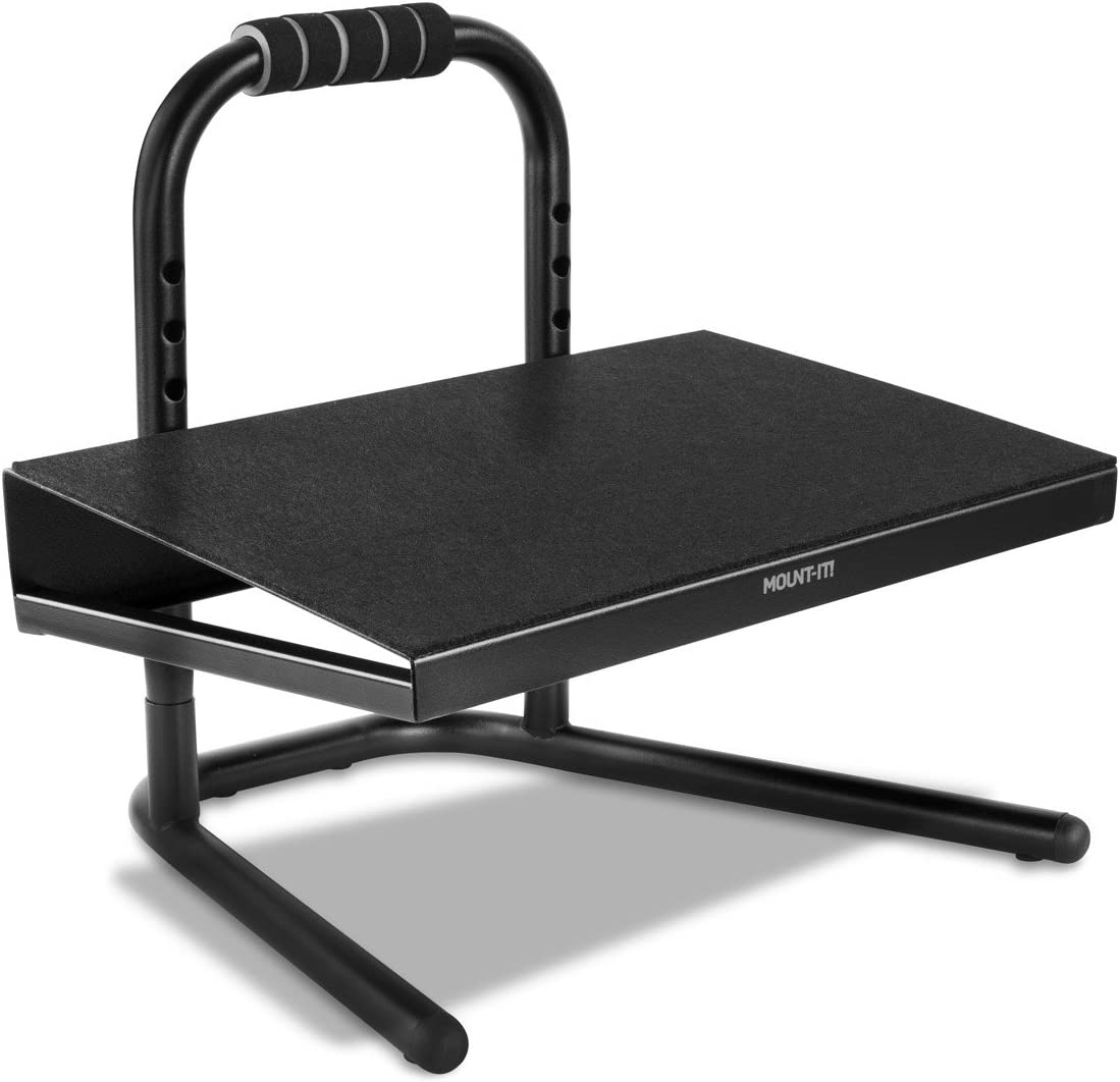 Mount-It Height Adjustable Foot Rest for Standing and Sitting, Freestanding Under The Desk Footrest with Handle and Six Height Settings, Anti-Slip Padded Surface,Black