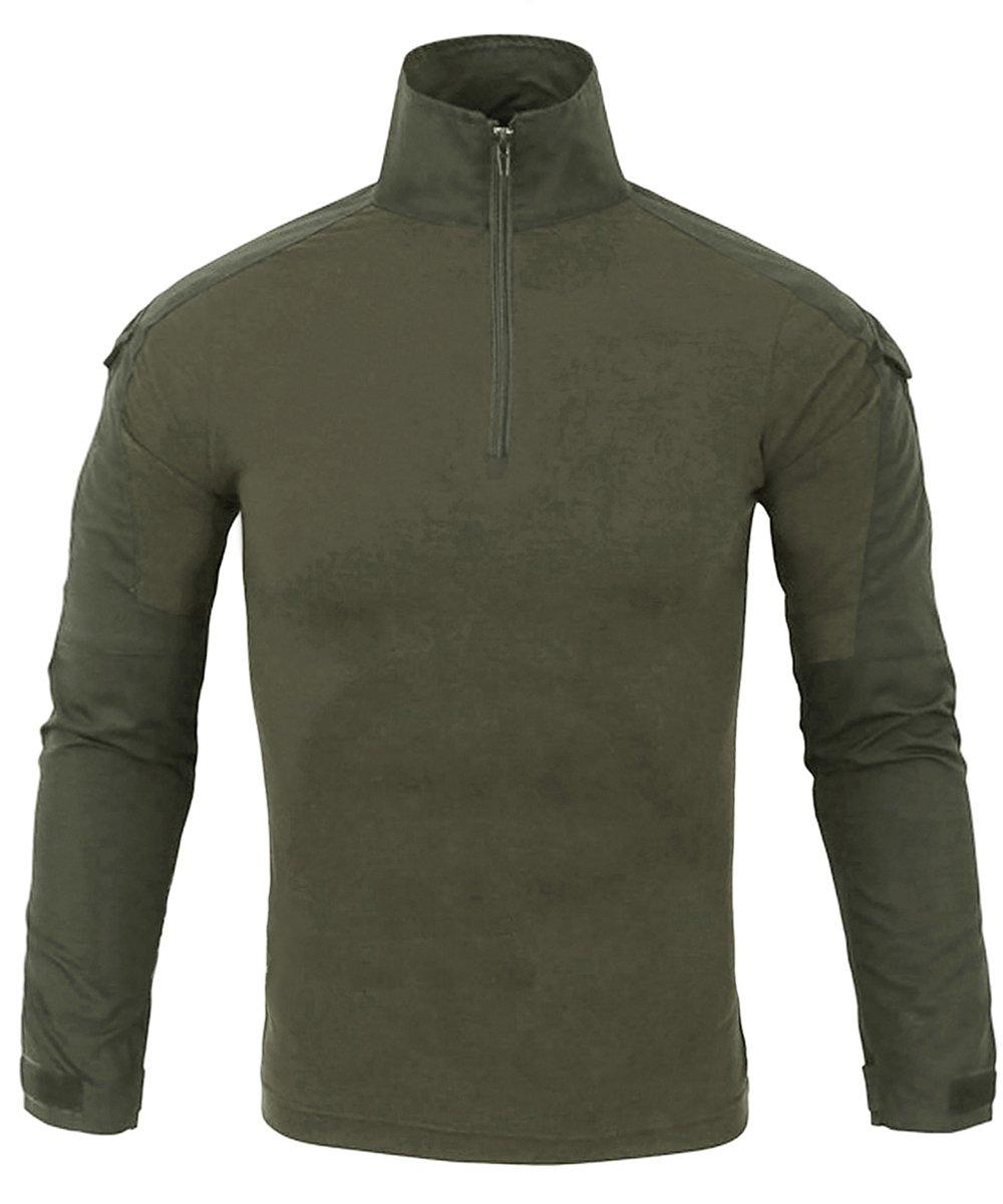 EKLENTSON Men's Military Shirt Hiking Shirt BDU Shirt Long Sleeve Shirts Summer Tee Olive Green