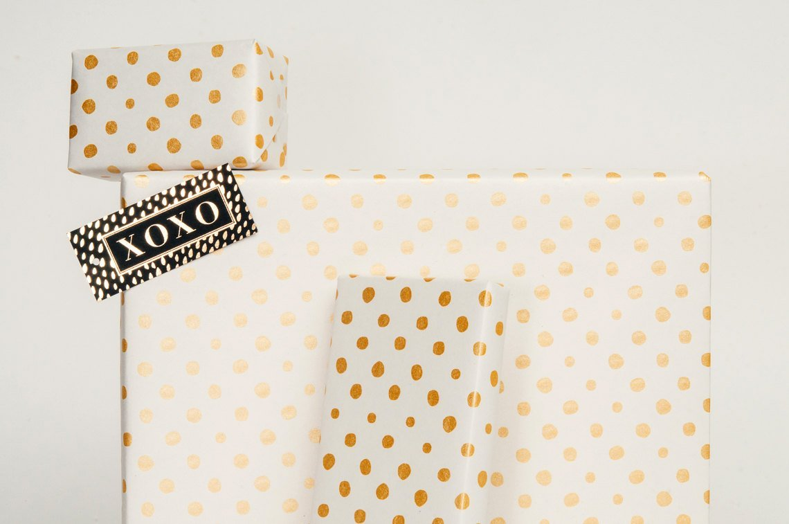 Gold Polka Dot on Newsprint / Wrapping Paper 3 Sheets