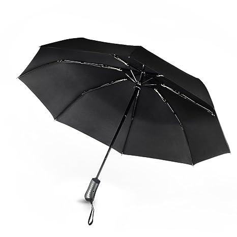 Greenmall Paraguas automático a Prueba de Viento Plegable Viaje Compacto Lluvia Paraguas automático Abrir y Cerrar