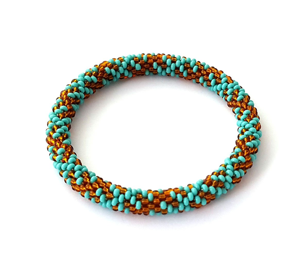Brown Turquoise Roll On Bracelet Nepal Native Bangle Beaded Wristband