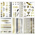 Metallic Flash Temporary Tattoos - 6 Sheets Body Art Stickers for Women/ Girls, 50+ Long Lasting Jewlry Patterns in Gold/ Silver, Type: Feather, Bird, Star, Dreamcatcher, Arrows, Bracelet tattoo, etc. from MEISHI