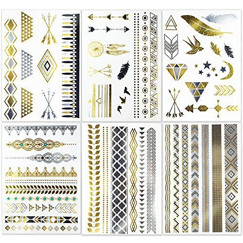 metallic-flash-temporary-tattoos-6-sheets-body-art-stickers-for-women-girls-50-long-lasting-jewlry-p