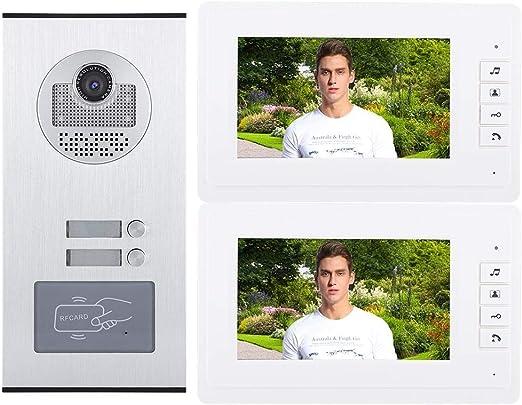 UE 7 Pulgadas LCD con Cable Aplicaci/ón Intercomunicador Remoto Timbre de la Puerta Visor Sistema de Acceso de Entrada Kit para Home Villa Apartments Pangding Videoportero Timbre de la Puerta