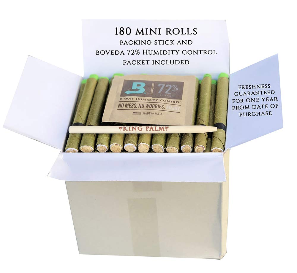 King Palm Hand Rolled Leaf Wrap Rolls + Boveda - Mini Size - 180 Count Bulk Pack