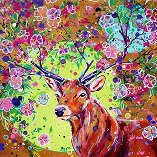 DIY Diamond Painting Colorful Flowers Elk Handcraft Sewing Art Embroidery Resin Stone Cross Stitch Mosaic Decoration 16x24 Inch