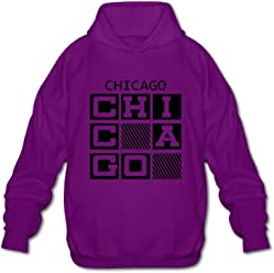 Chicago Casual Classic Mens Hoodie Sweatshirt Pullover Hoodie For Men Purple
