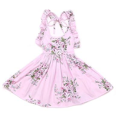 94e6777e0 Amazon.com  Flofallzique Pink Easter Dress for Girls Backless ...