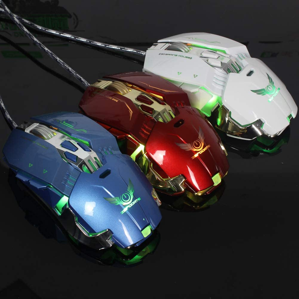 Blue Shentesel Gaming Mouse 3200DPI Wired Mechanical Ergonomics LED Color Changing for Laptop