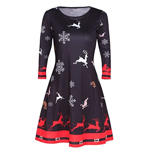 06eb5de0643 xinchengruishangmao Christmas Dress Women Plus Size Print Round Neck Long  Sleeve Dress Party Swing Skirt at Amazon Women s Clothing store